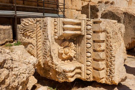 Baalbek Ancient city in Lebanon.Heliopolis temple complex.near the border with Syria.remains Banque d'images - 93072757