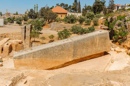 Foundation stone Baalbek Ancient city in Lebanon.Heliopolis temple complex.near the border with Syria.remains
