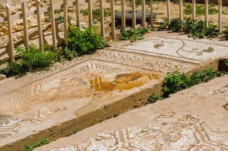 mosaic.Baalbek Ancient city in Lebanon.Heliopolis temple complex.near the border with Syria.remains Фото со стока