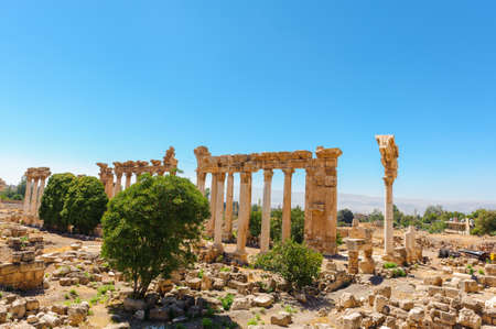 Baalbek Ancient city in Lebanon.Heliopolis temple complex.near the border with Syria.remains Banque d'images - 92880274