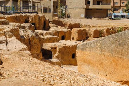 Pierre de fondation Baalbek Ancienne ville au Liban.Hélopolis complexe de temples. Près de la frontière avec la Syrie.remains Banque d'images - 92871398