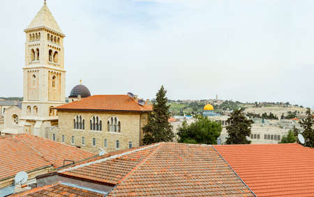 Jerusalem panoramic roof view .Holy Sepulcher Church.Old town market