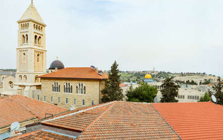 Jerusalem panoramic roof view.Old town. Touristic attractions.