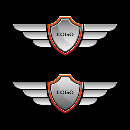 wings and shields vector logo template