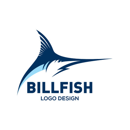 Blue Marlin, Bill fish logo design template Stock Illustratie