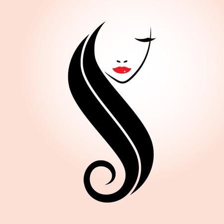 Frisur-Schönheits-Mode-Logo-Design mit Silhouette-Stil