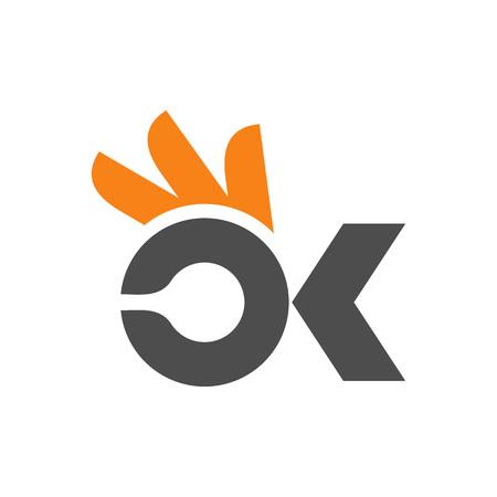 OK icon logo design template