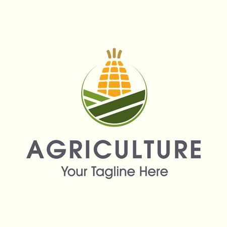 Corn farming vector logo template