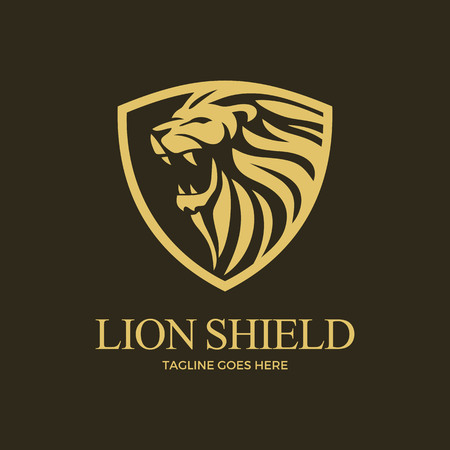 Lion Shield Vector Art Logo Template Dark Background Фото со стока - 117776001