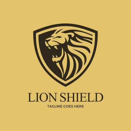 Lion Shield Vector Art Logo Template Light Background
