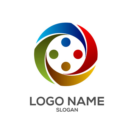 Human circle element logo vector design template Иллюстрация