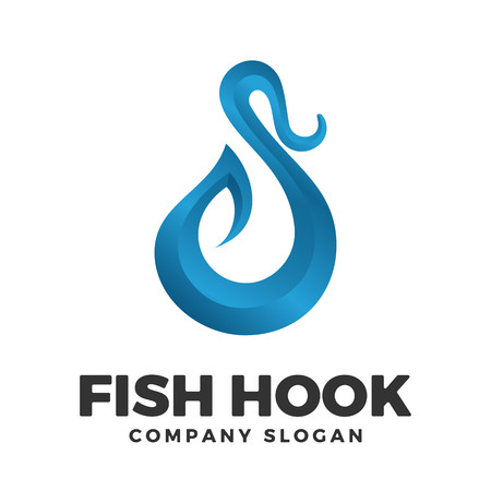 Fish hook logo design template Фото со стока - 117776007