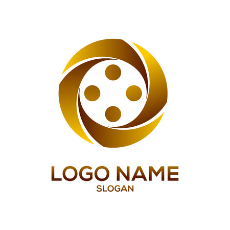 Golden circle element logo vector design template
