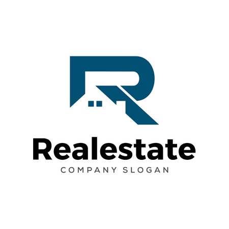 Initial R letter real estate logo design template