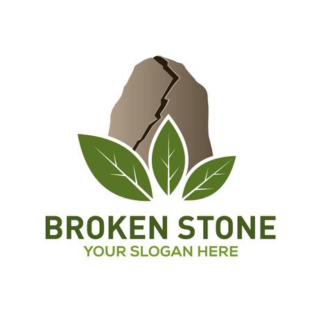 Broken stone leaf vector logo template