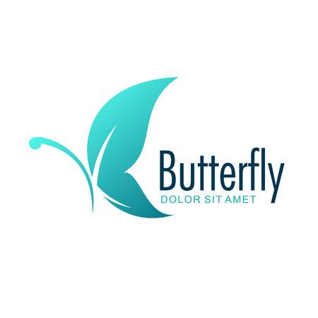 Butterfly blue logo design template