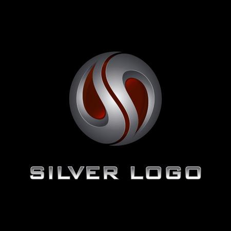 Initial S letter silver 3D logo design