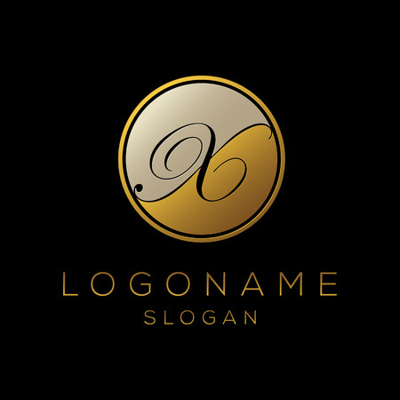 Initial X letter 3d logo template