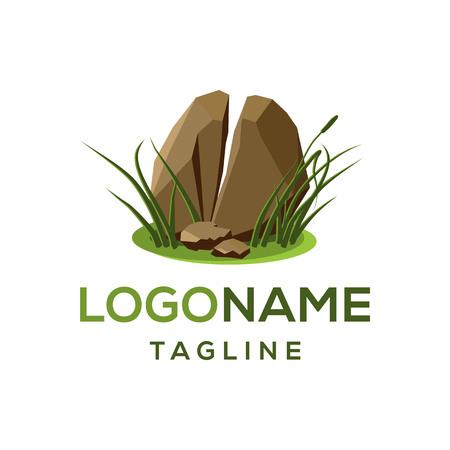 Realistic broken stone logo design template