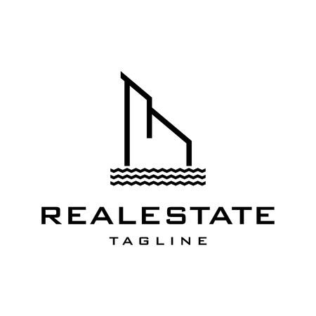 Riverbank real estate logo design template