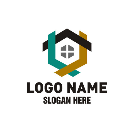 Creative Real Estate Logo Design, Triple House Logo Design Template Фото со стока - 117776232