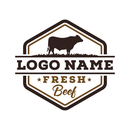 Fresh beef logo design Vectores