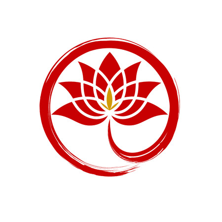Circle red lotus diamond abstract logo