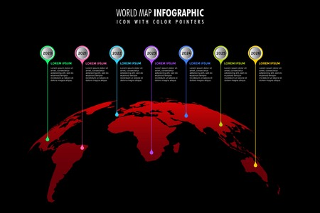 World map infographic template black background, color icons as data visualization Иллюстрация