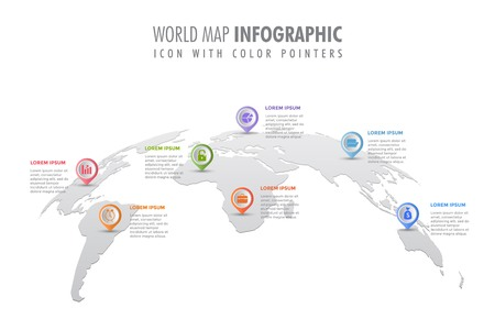 World map infographic template, symbol icon with color pointers Фото со стока - 119194748