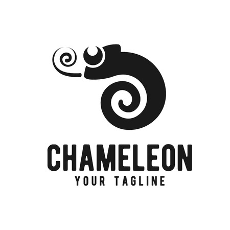 Chameleon logo design template Illustration