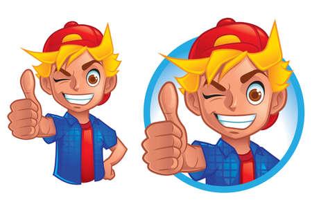 A Little Boy Showing Thumb Up 矢量图像