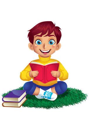 A Little Boy Reading a Book on Grass