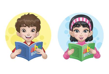 A Little Boy &  Girl Reading a Book