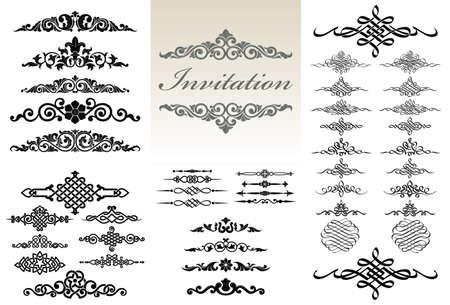 Calligraphic and ornament design set. 矢量图像