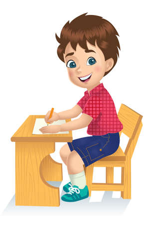 A schoolboy sitting while writing.