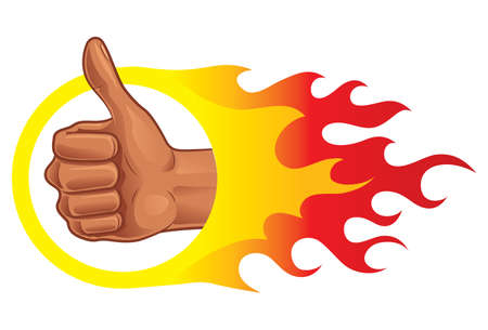 Thumb Up on Fire icon