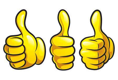Cartoon Thumbs Up icon set 矢量图像