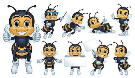Bienenmaskottchencharakter mit 9 Posen lokalisiert auf einem weißen Hintergrund