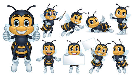 Bee mascot character with 9 poses isolated on a white background