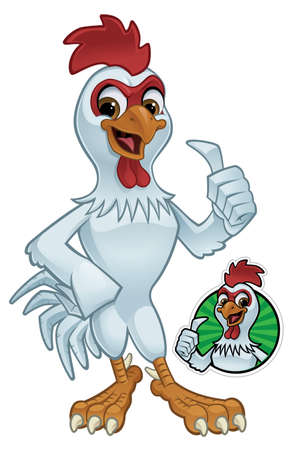 Cartoon Rooster Giving a Thumbs Up Vector Illustration eps 10