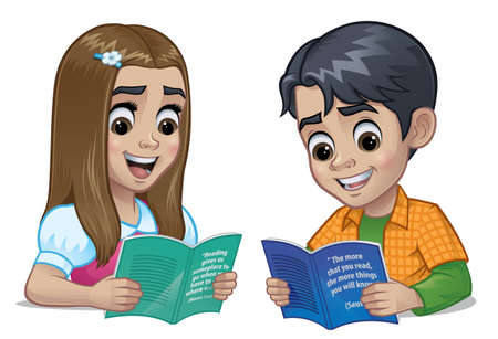 Schoolboy and schoolgirl reading a book together isolated on a white background. Vector illustration, eps 10