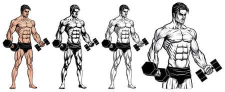 Male Bodybuilder Full Body with Dumbbell 矢量图像