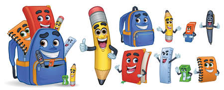 Papelería escolar de personaje de dibujos animados