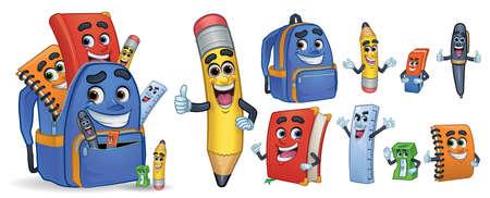 Papeterie d'école de personnage de dessin animé