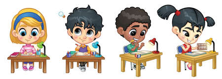 Set of Children Studying on Table