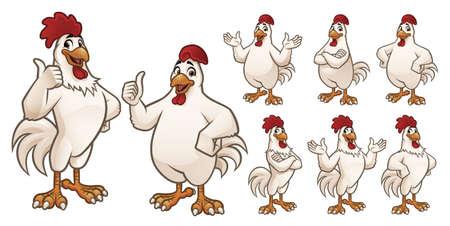 Mascota de gallo y pollo de dibujos animados