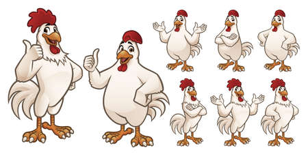 Cartoon Rooster and Chicken Mascot Illustration