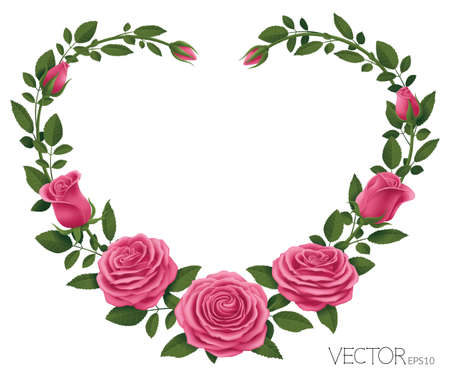 Pink Roses with Heart Shape Vector Illustration