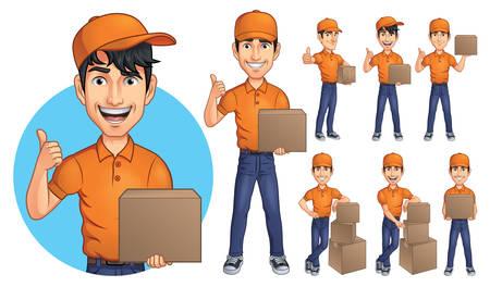 Cartoon Courier Young Man Mascot Character 矢量图像