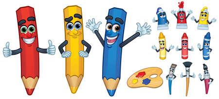 Strumento per disegnare e dipingere personaggi dei cartoni animati Vettoriali